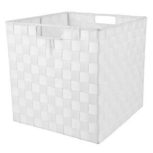 Flechtkorb, Kunststoff, quadratisch, weiß, klein