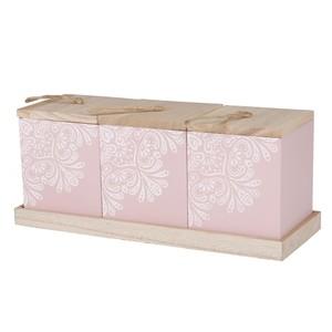 Holzboxen auf Gestell, 31,5 x 13 x 11,5 cm, rosa, 3er-Set