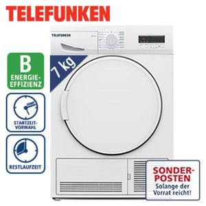 Kondenstrockner TFKT94F4 · 15 vollelektron. gesteuerte Programme · Knitterschutz · Maße: H 84,5 x B 59,6 x T 56,3 cm · Energie-Effizienz: B (Spektrum: A+++ bis D)