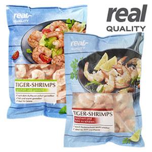 Tiger Shrimps * * * blanchiert oder gekocht  gefroren, jede 750-g-Packung/675 g Abtropfgewicht  und weitere Sorten