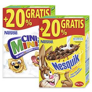 Nestlé Cerealien versch. Sorten, jede 375-g + 20% gratis = 450-g-Bonuspackung
