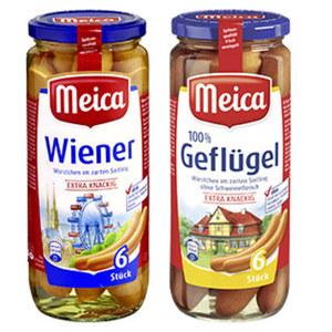 Meica Wiener, Frankfurter Art oder Geflügelwürstchen im Saitling,  jedes 6 Stück = 250-g-Glas