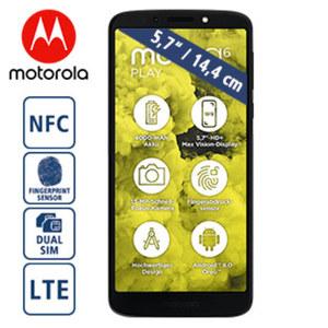 Smartphone Moto G6 Play · 2 Kameras (8 MP/13 MP) · 3 GB RAM, 32 GB Speicher · microSD™-Slot bis zu 128 GB · Android™ 8.0