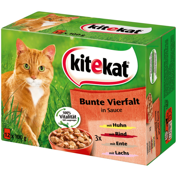 Kitekat Katzenfutter Bunte Vielfalt in Sauce 12x100g