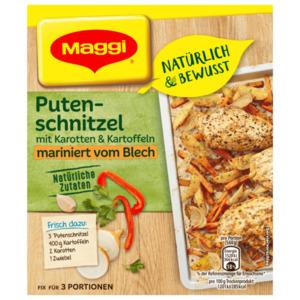 Maggi Natürlich & Bewusst Putenschnitzel mit Karotten & Kartoffeln mariniert vom Blech 27g