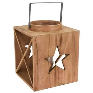 Laterne groß 26 cm aus Holz mit Sternenmotiv und Henkel
