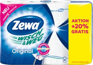 Zewa Wisch und Weg Küchenrolle Original +20% gratis Inhalt (4x54 Blatt)