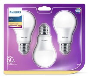PHILIPS LED Leuchtmittel - Birne 60W A60 E27 - 3er Pack