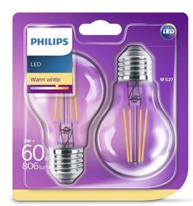PHILIPS LED Leuchtmittel - Birne 60W A60 E27, 2er Pack