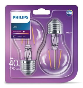 PHILIPS LED Leuchtmittel - Filament Birne 40W A60 E27, 2er Pack