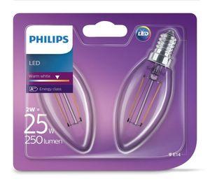 PHILIPS LED Leuchtmittel - Filament Kerze 25W B35 E14 -2er Pack