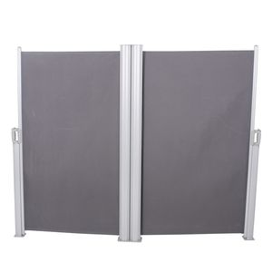 Doppel-Seitenmarkise Angan - Polyester/Aluminium - Grau/Silber, Garden Pleasure