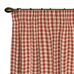 Vorhang mit Kräuselband - Beige/Rot Kariert - 310, Dekoria