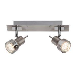 EEK A++, LED-Spotbalken Kassandra 2-flammig - Silber Metall, verchromt, Brilliant