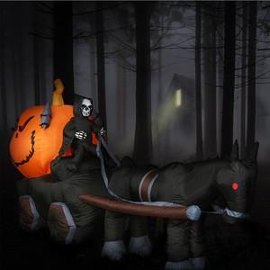 Aufblasbare Halloween-Deko Tod auf Kutsche