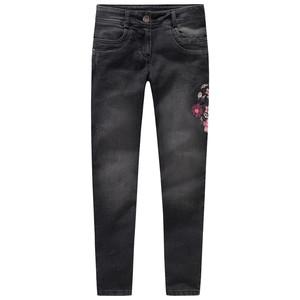 Mädchen Skinny-Jeans mit Blumen-Stickerei