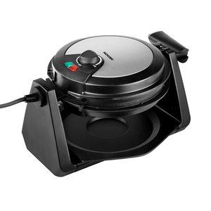 MEDION Drehbares Waffeleisen MD 18360, ideale Teigverteilung, farbige Temperaturanzeige, 1000W Leistung, Antihaftbeschichtung