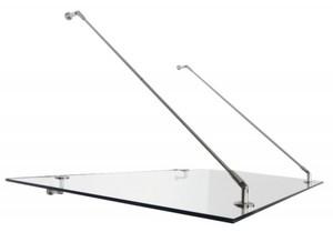Polymer V2A Echtglas Vordach 140 x 90 cm ,  mit Punkthalterung aus Edelstahl