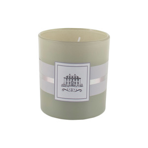 Duftkerze im Glas (Lemon Balm & Rosemary, grau-grün)