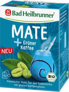 Bad Heilbrunner Kräuter-Tee, Mate Tee mit grünem Kaffee (15x2g)