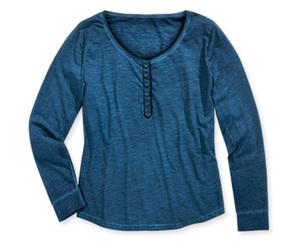 BlueMotion Langarmshirt mit Knopfleiste