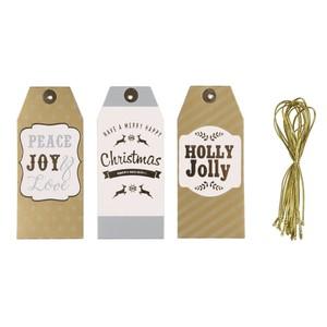 Geschenkanhänger, Weihnachten, 12er, 5 x 11,5 cm, Holly Jolly