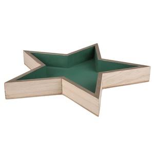 Deko-Tablett, Stern, Holz, dunkelgrün, klein