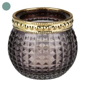 Teelichtglas, Wabenoptik, Goldring, 6,5 x 6 x 6,5 cm, grün