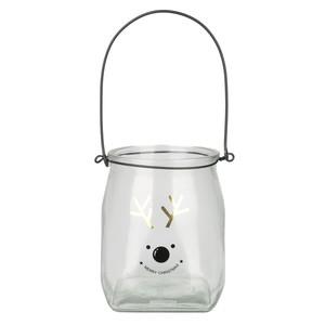 Windlicht, Rentier, mit Henkel, 14,5 x 17,4 x 14,5 cm