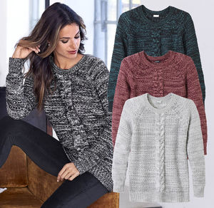 Laura Torelli Classic Damen-Pullover mit Zopfmuster