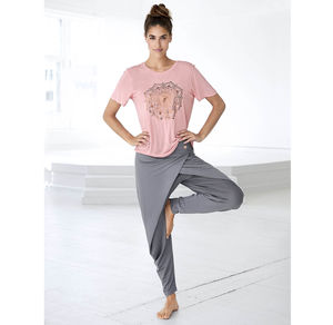 Damen-Yogahose mit drapiertem Überschlag