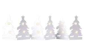 LED Metall-Windlicht in weiß, 55 x 14 cm