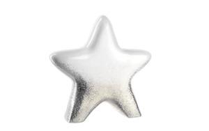 Glas Koch - Deko Keramikstern Glitter in weiß/gold, 12 cm