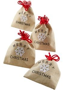"""Geschenk-Säckchen """"Merry Christmas"""" (4er-Pack)"""