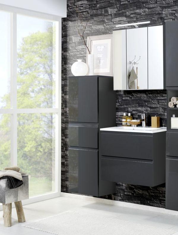 held m bel bad set cardiff 3 tlg mit midischrank 60 cm graphit hochglanz grau von netto. Black Bedroom Furniture Sets. Home Design Ideas