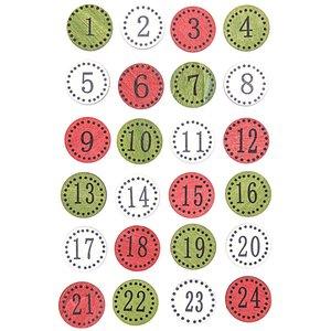 Adventskalender Zahlen rund klassisch Holz 24 Stück