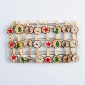 Adventskalender Zahlen Holzscheiben mit Klammer