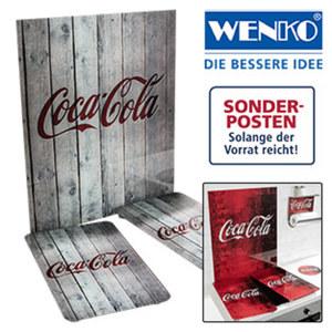 """Serie """"Coca Cola"""" - versch. Dekore, Herdabdeckplatten - 2er-Pack - Maße: je ca. 52 x 30 cm, Herdblende - Maße: ca. 70 x 60 cm  49,95 €, Rollenhalter - mit Ablage 29,95 €, Topfuntersetzer - mit"""