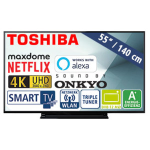 "55""-Ultra-HD-LED-TV 55V5863DA • HbbTV, H.265, HDR • 3 HDMI-/2 USB-Anschlüsse, CI+ • 2 x 10 Watt RMS • Stand-by: 0,5 Watt, Betrieb: 86 Watt • Maße: H 72,2 x B 124,3 x T 7,4 cm • Energi"