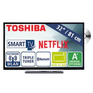 "32""-LED-HD-TV/DVD 32D3763DA • Auflösung 1.366 x 768 Pixel, H.265 • 3 HDMI-/2 USB-Anschlüsse, CI+ • Stand-by: 0,5 Watt, Betrieb: 31 Watt • Maße: H 43,7 x B 73,5 x T 9,0 cm • Energie-Eff"