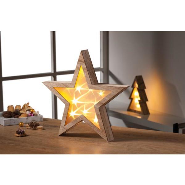 IDEENWELT Holzstern mit Beleuchtung braun