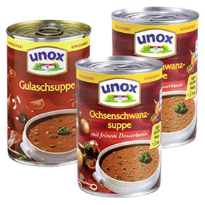 Unox Ochsenschwanzsuppe oder Gulaschsuppe konzentriert und weitere Sorten,  400-ml-Dose, ab 3 Dosen je