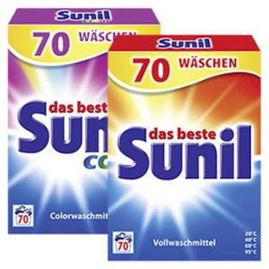 Sunil Waschmittel Pulver 70 Waschladungen, versch. Sorten, jede Tragepackung