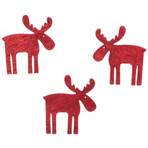 Streu Elch rot 4cm Holz 12 Stück
