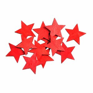 Streu Sterne rot 4cm Holz 12 Stück