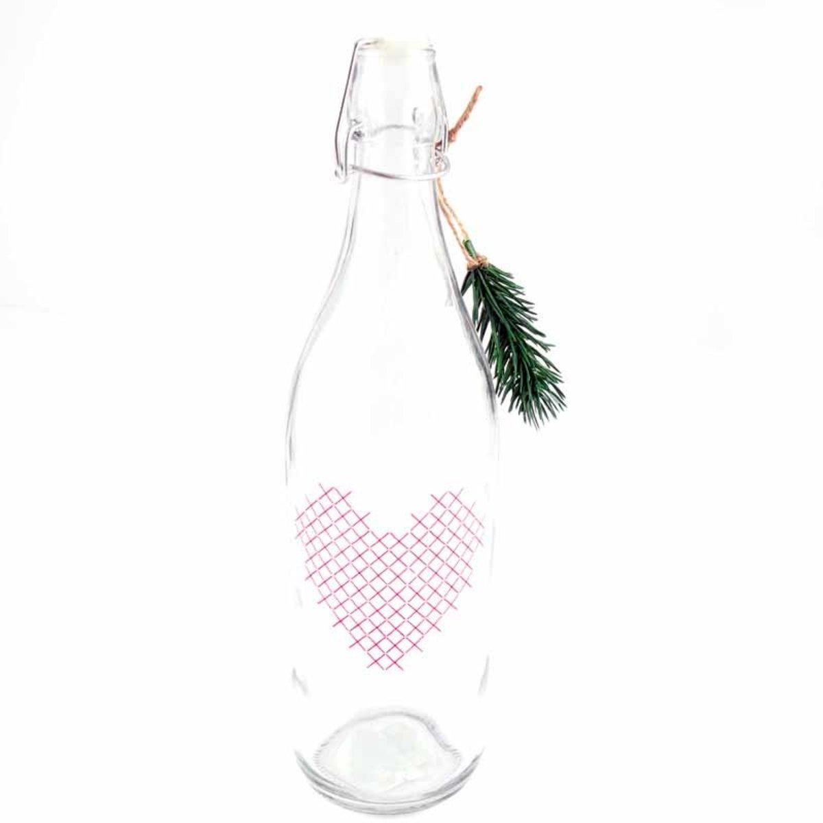 Bild 1 von Flasche mit Herz im Stickdesign 32,5x9,3cm