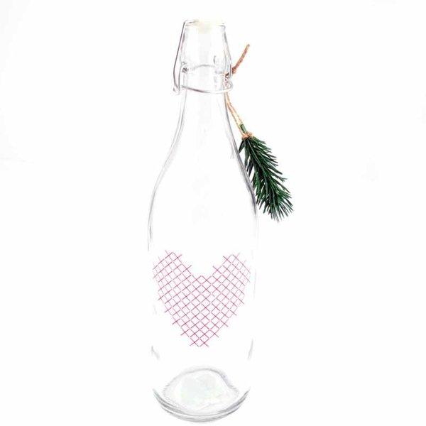 Flasche mit Herz im Stickdesign 32,5x9,3cm
