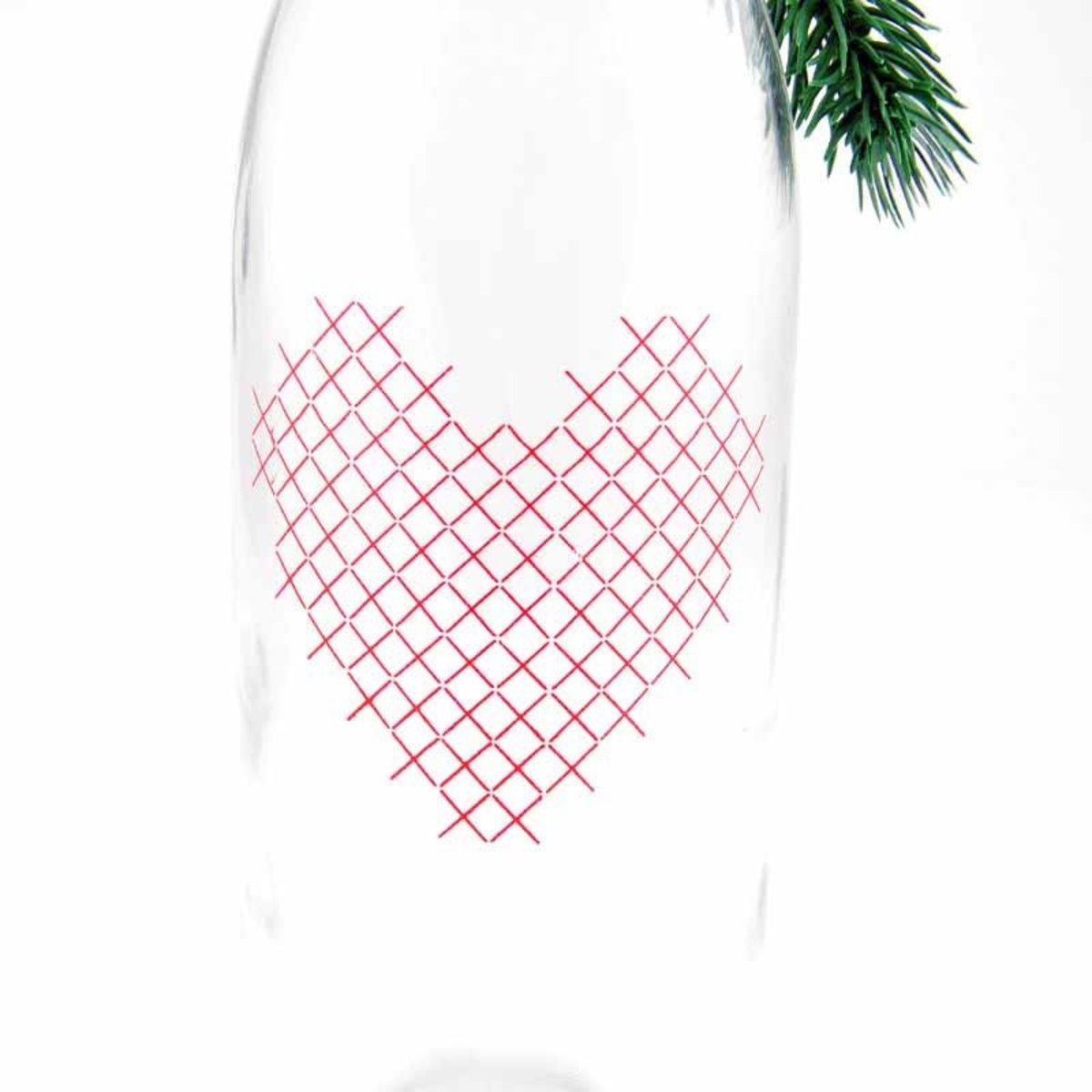 Bild 2 von Flasche mit Herz im Stickdesign 32,5x9,3cm