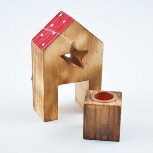 Kerzenhalter Haus 9,5cm Holz