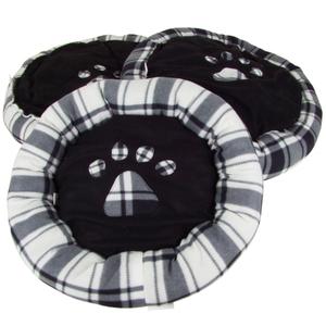 Hundebetten rund mit Pfoten-Aufdruck 3er-Set